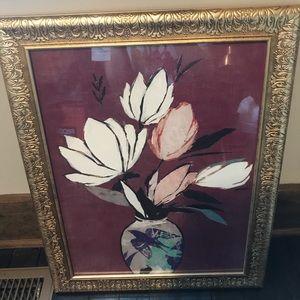 Floral art in gold ornate frame